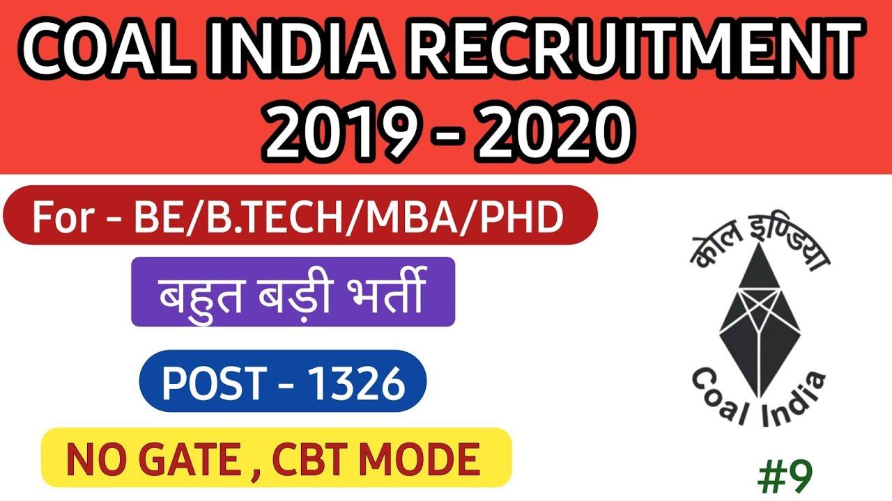 Coal India Recruitment 2020: 1326 Vacancies for Management Trainee (MT) Posts, Apply Online @coalindia.in